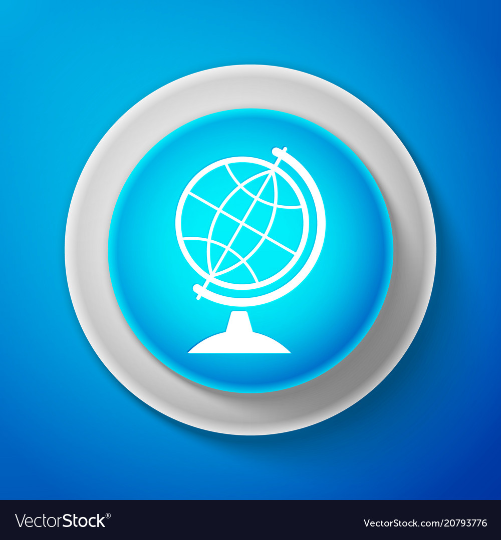 White earth globe icon isolated on blue background