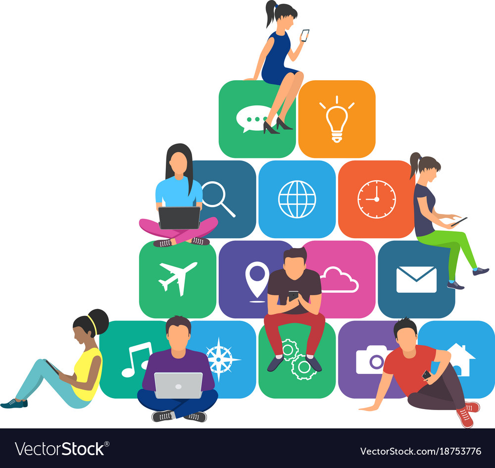 Young men and women sitting on mobile app icons