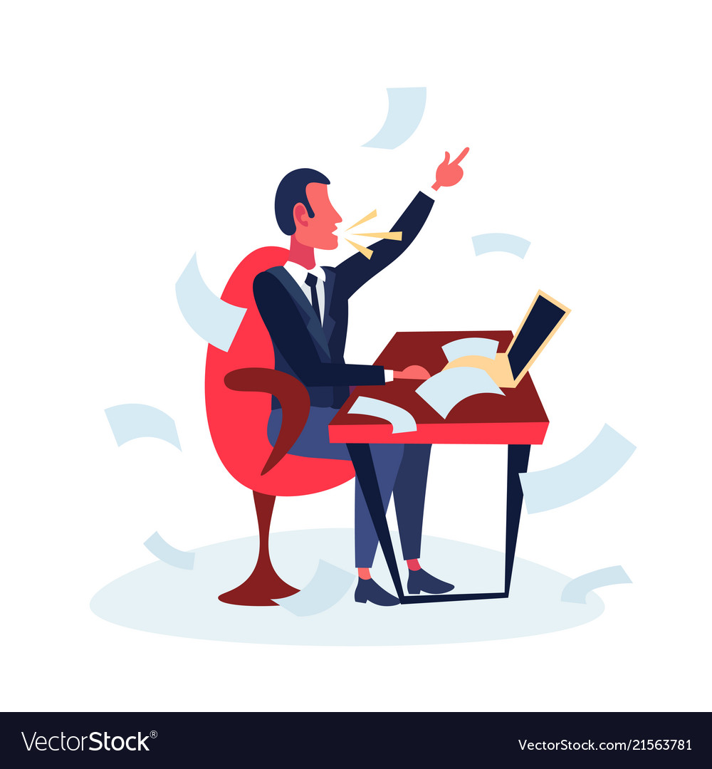 Angry businessman sitting office workplace using