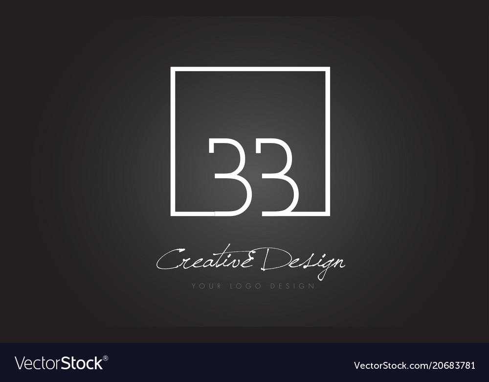 Bb square frame letter logo design with black and vector image