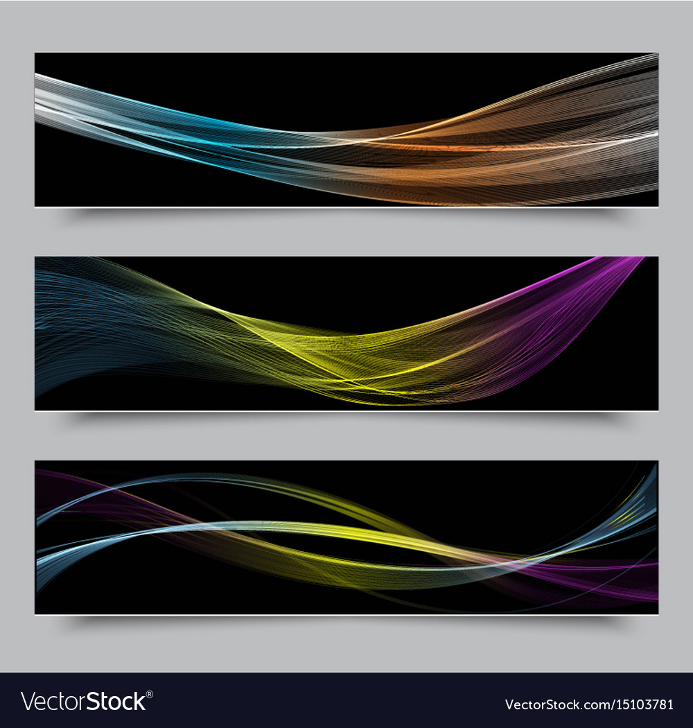 Bright colors wave horizontal banner