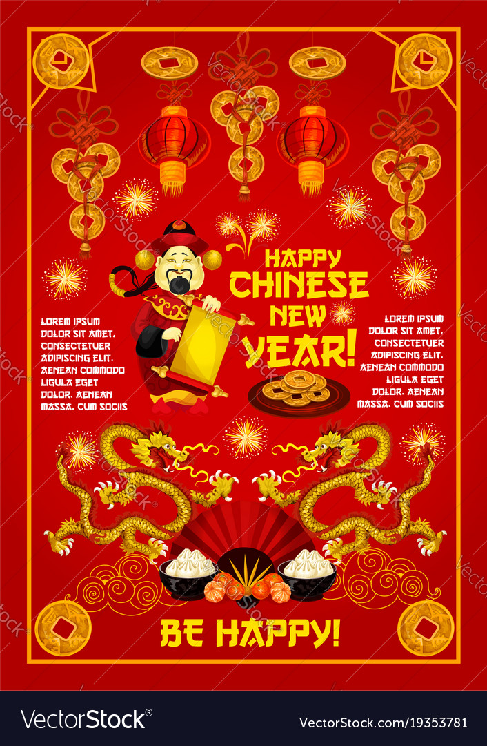 chinese god of prosperity card of lunar new year vector image