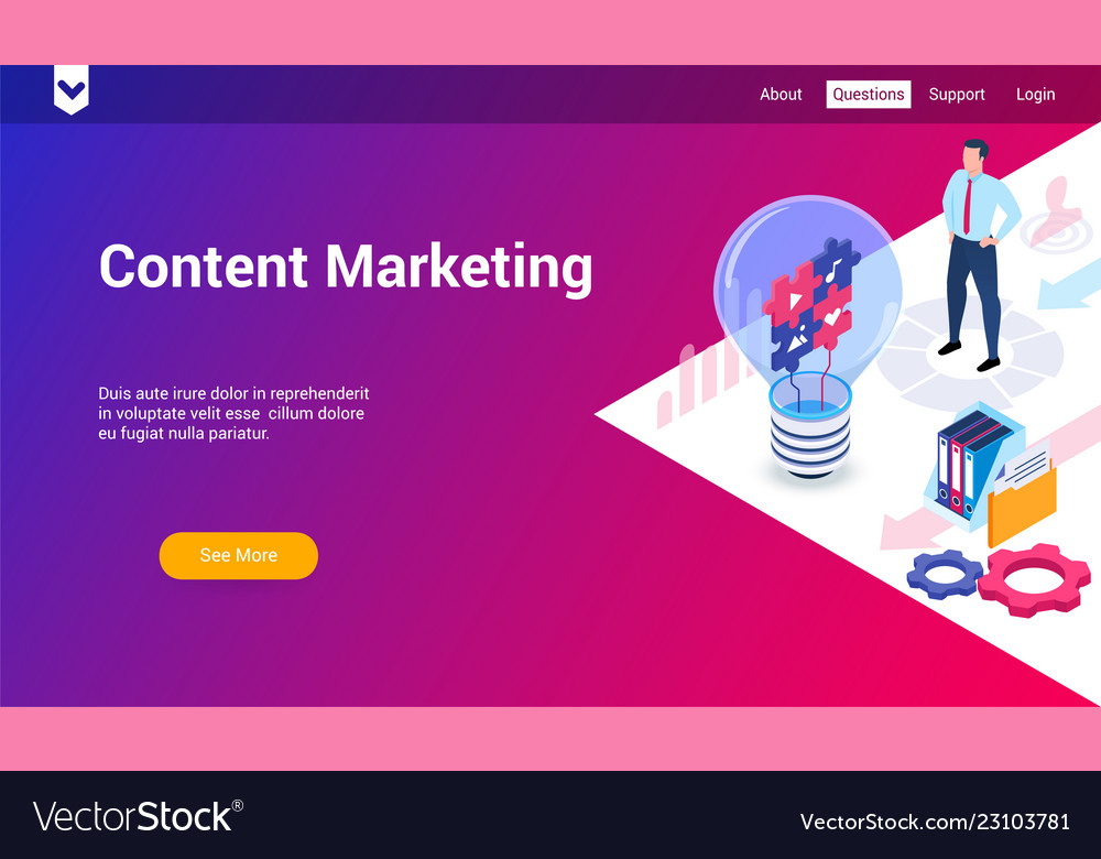 Content marketing 3d template