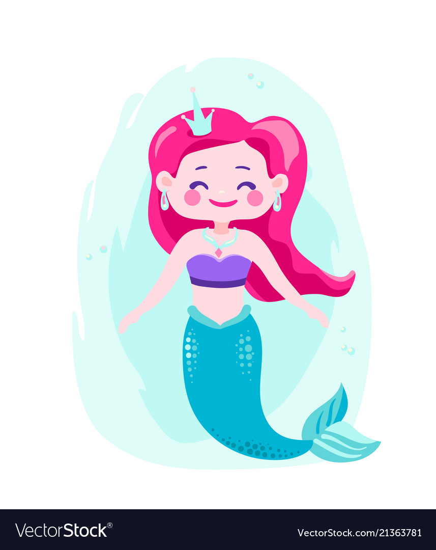 Cute happy mermaids with pink hair and blue tail