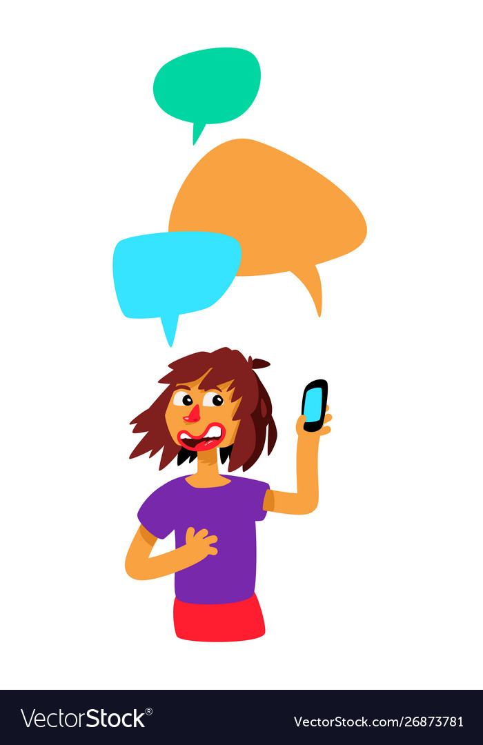 Girl with comic bubbles and phone the girl is