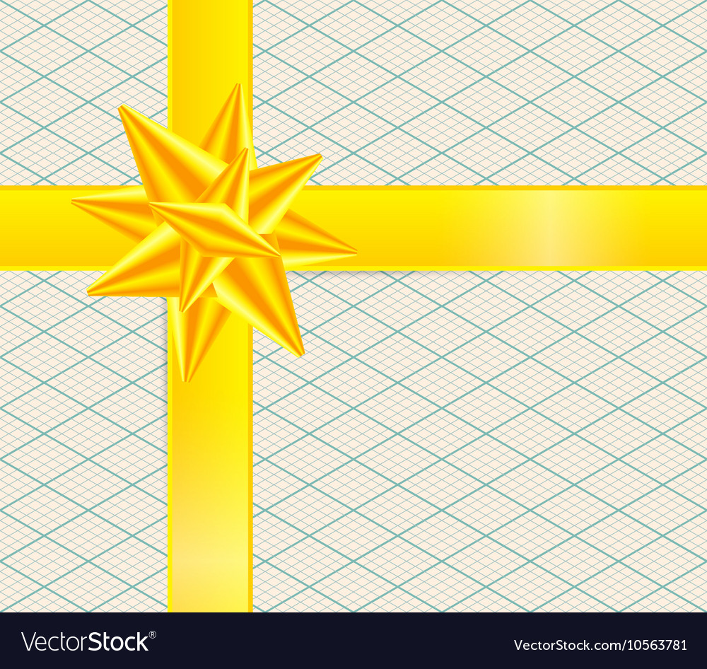 Gold Ribbon on Retro Isometric Background Yellow vector image