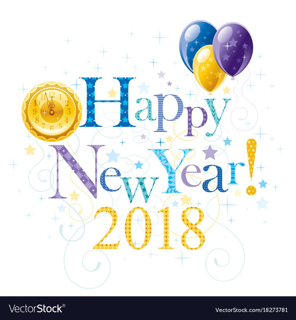 Happy new year 2018 blue golden logo icon border Vector Image