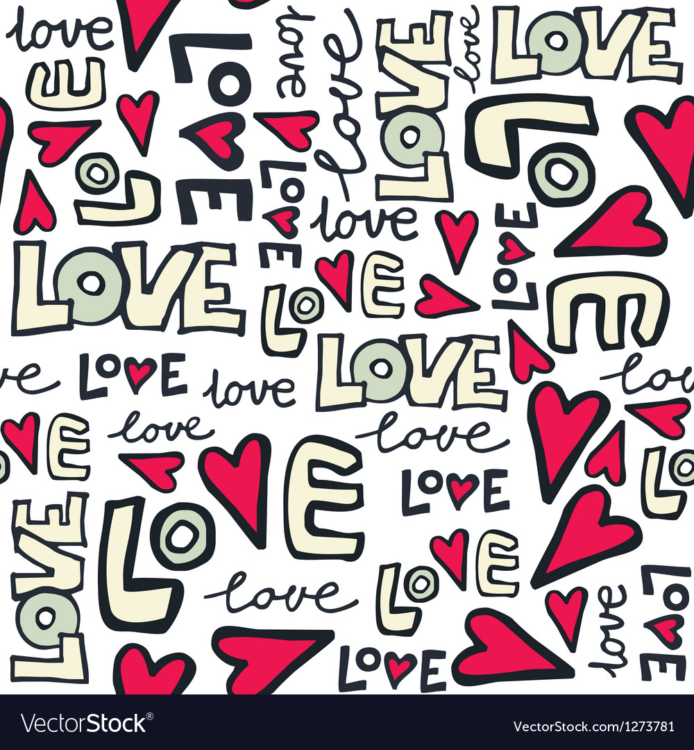 Love typography pattern vector image