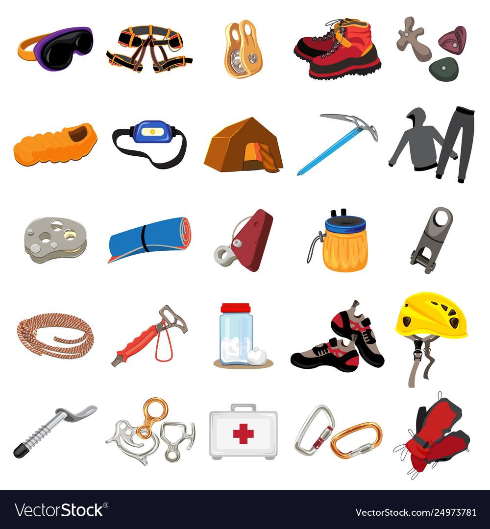 Mountaineering equipment icons set cartoon style Vector Image