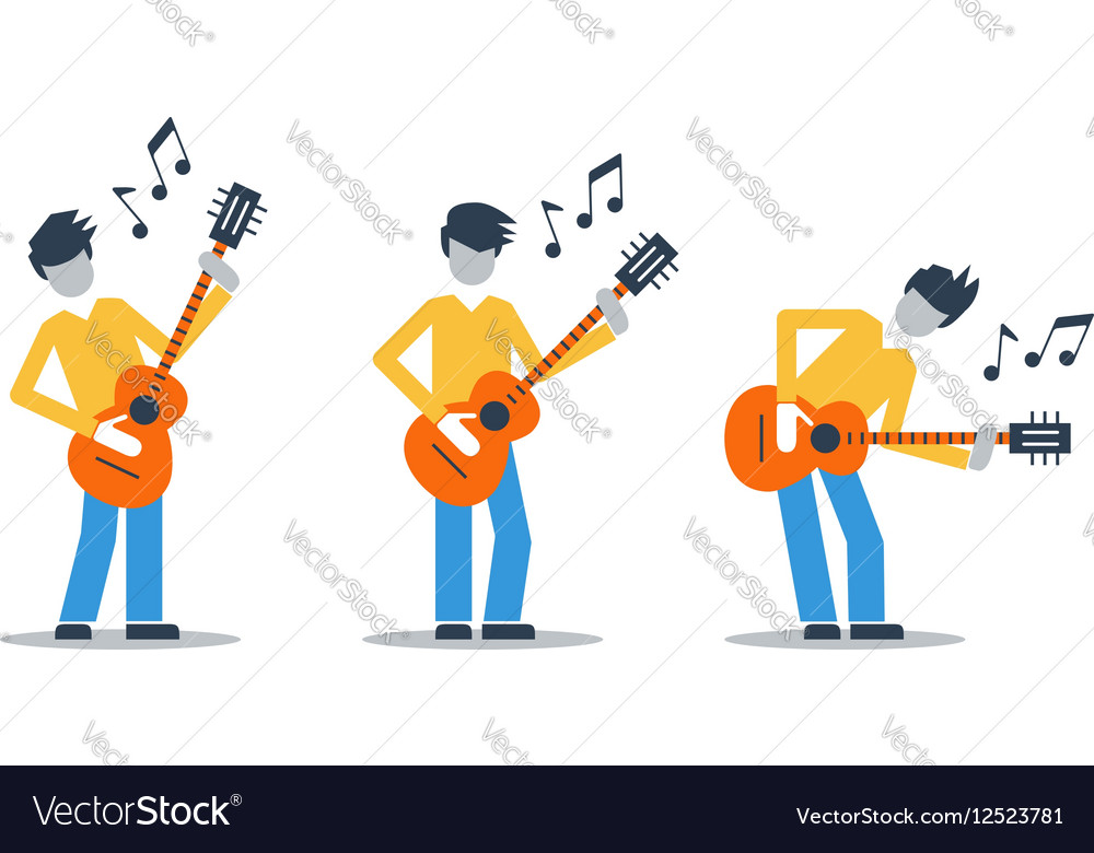 Music band playing live concert three guitarists