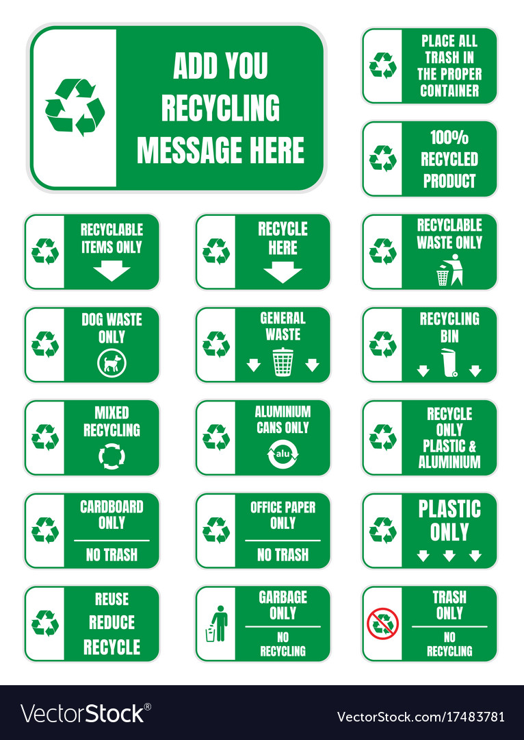 Recycle Symbols And Signs Royalty Free Vector Image