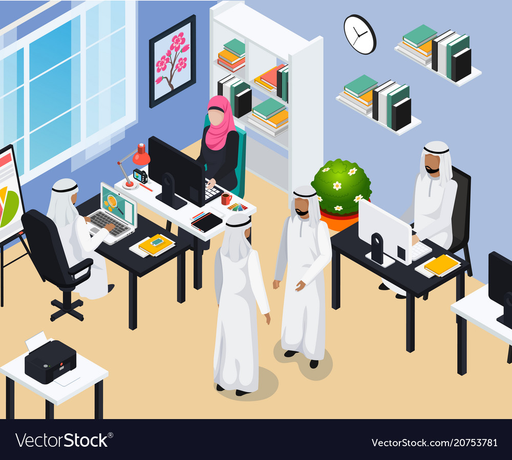 Saudi people in office composition