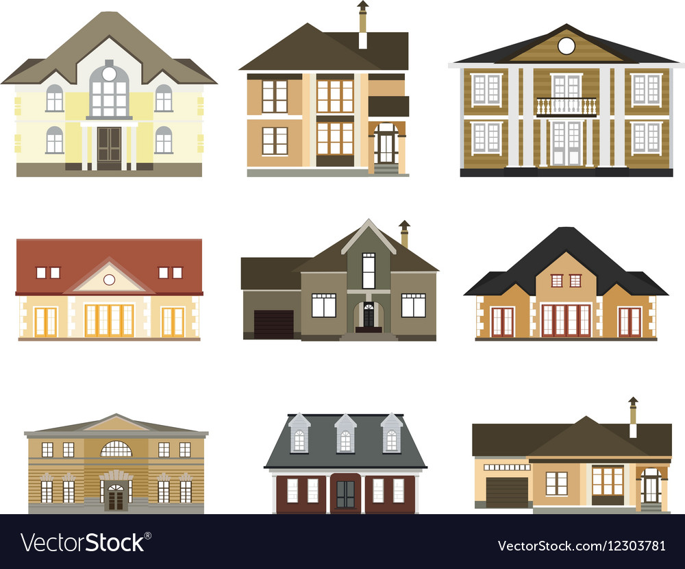 Set of flat housescottages for infographics