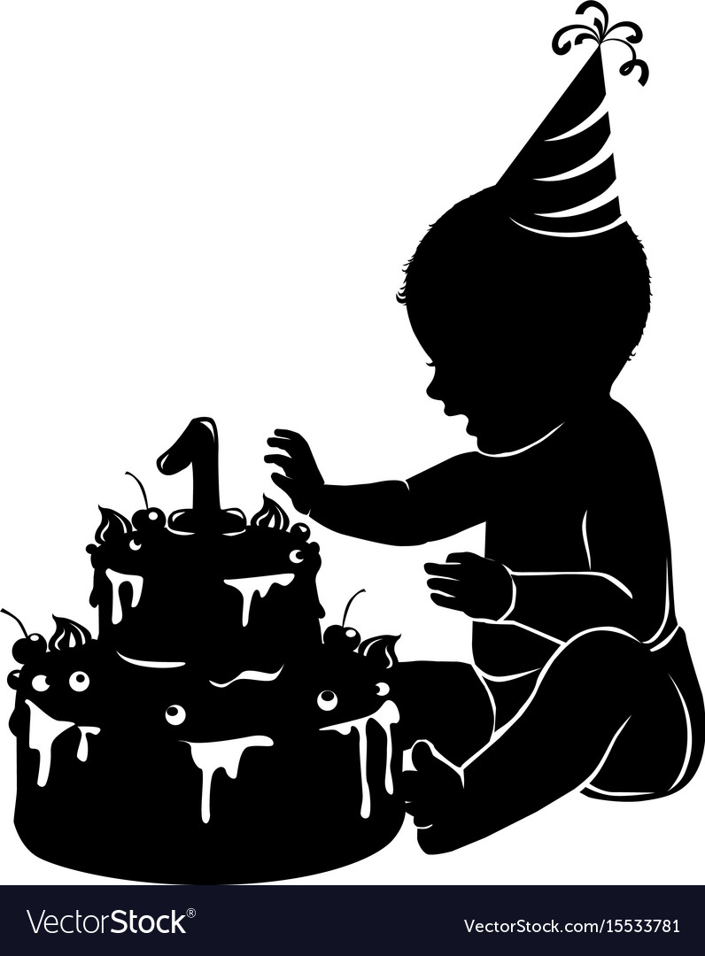 Silhouette baby with cake first birthday