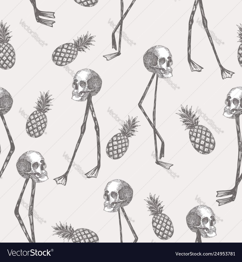 Skull on flamingo legs pineapple in pencil white