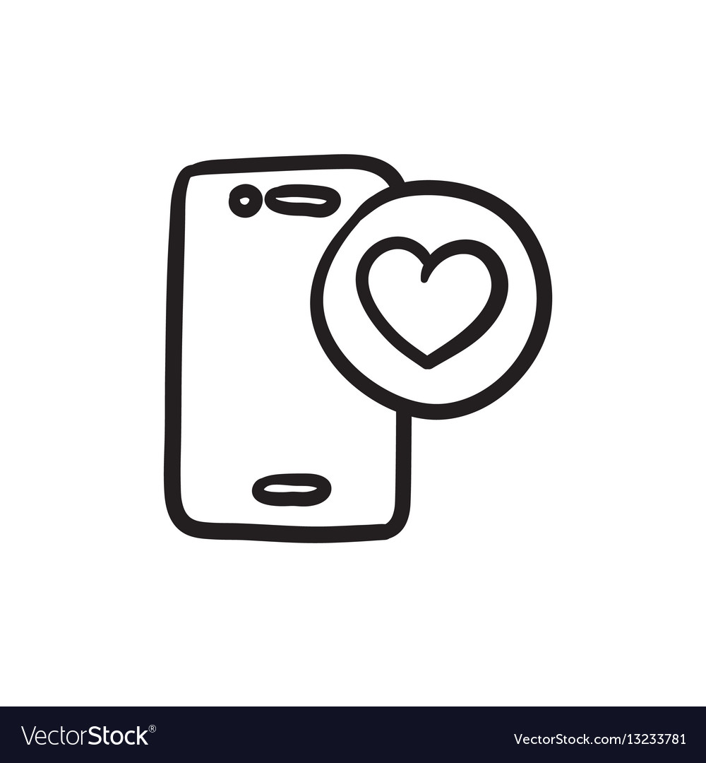 Smartphone with heart sign sketch icon