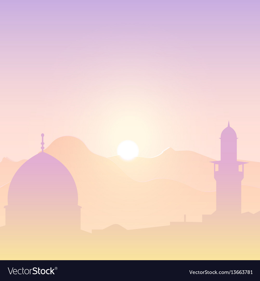 Sunset landscape with mosques