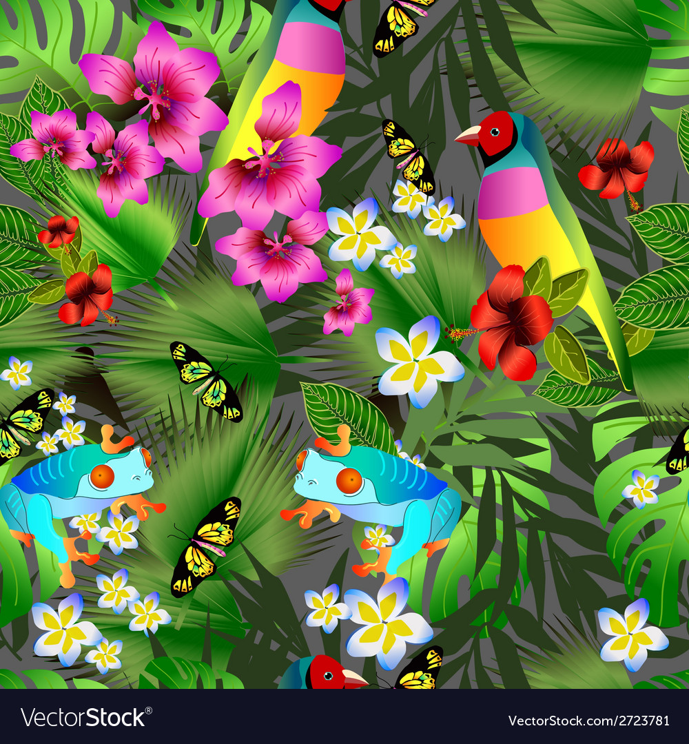 Tropical flowers and leaves and beautiful bird