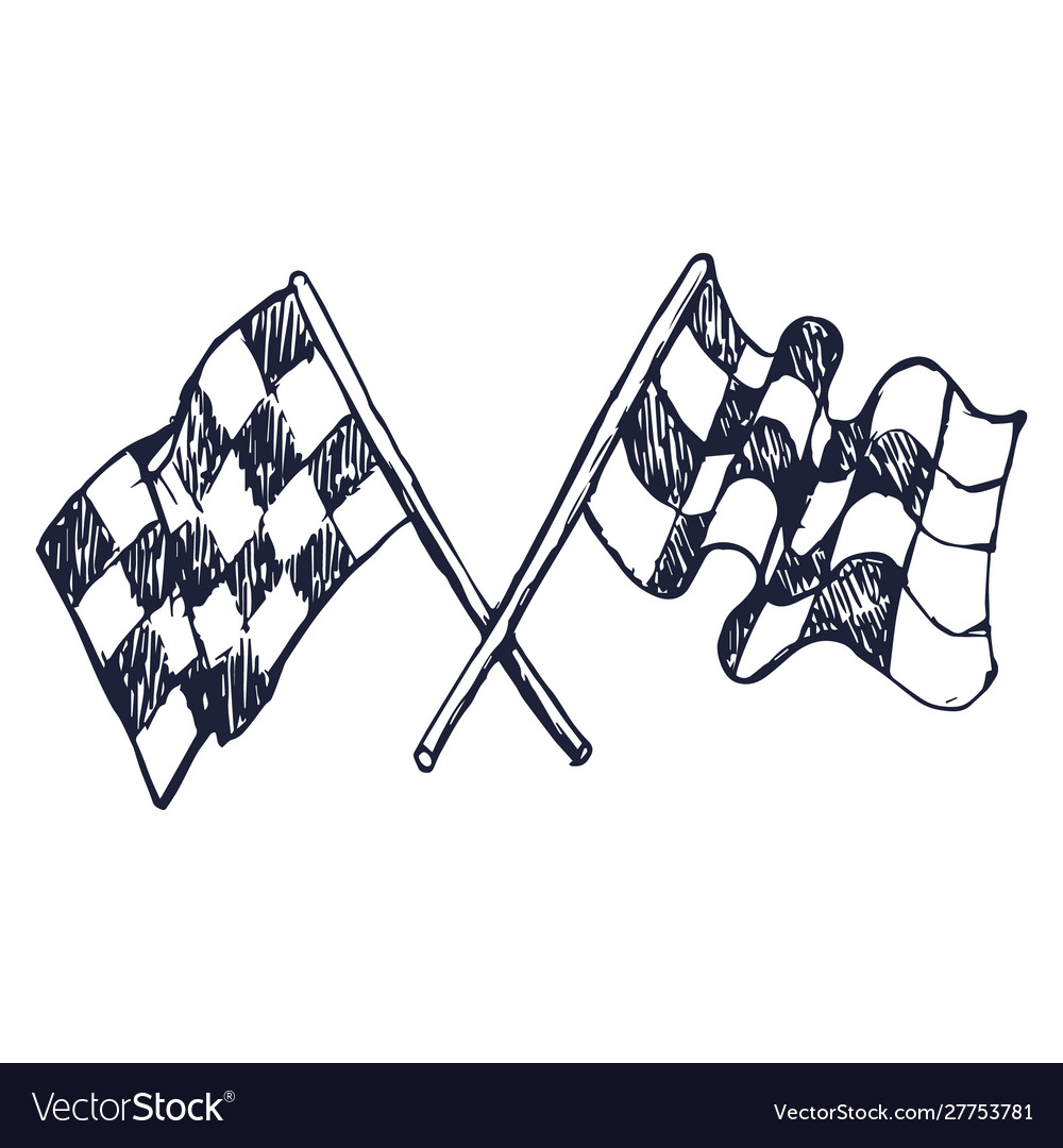 Two checker race flags crossed doodle style