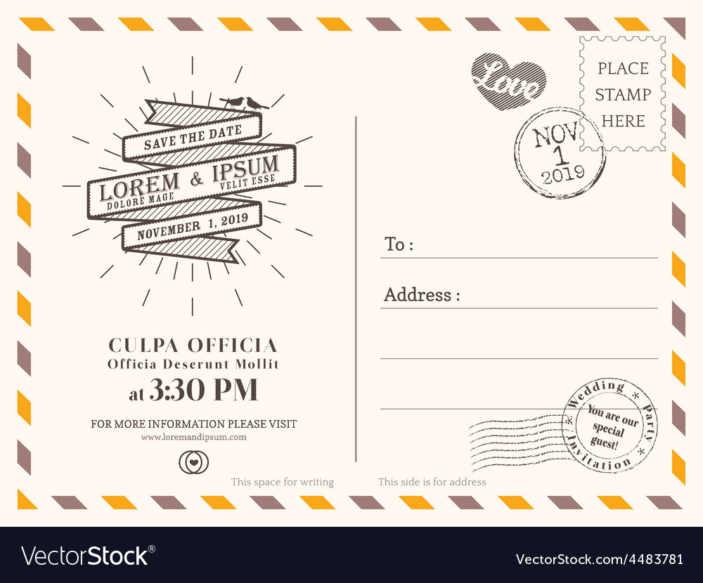 vintage wedding postcard background template vector image
