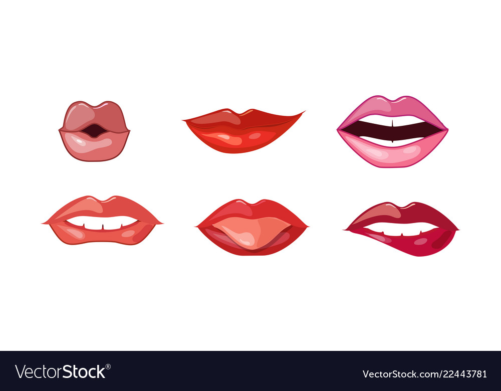 Woman lips set female mouth with different