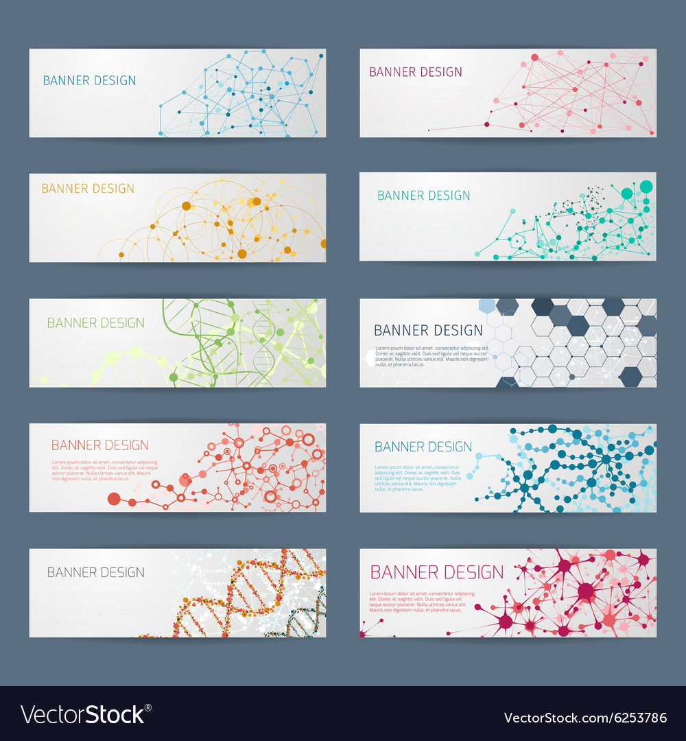 Abstract geometric DNA banners