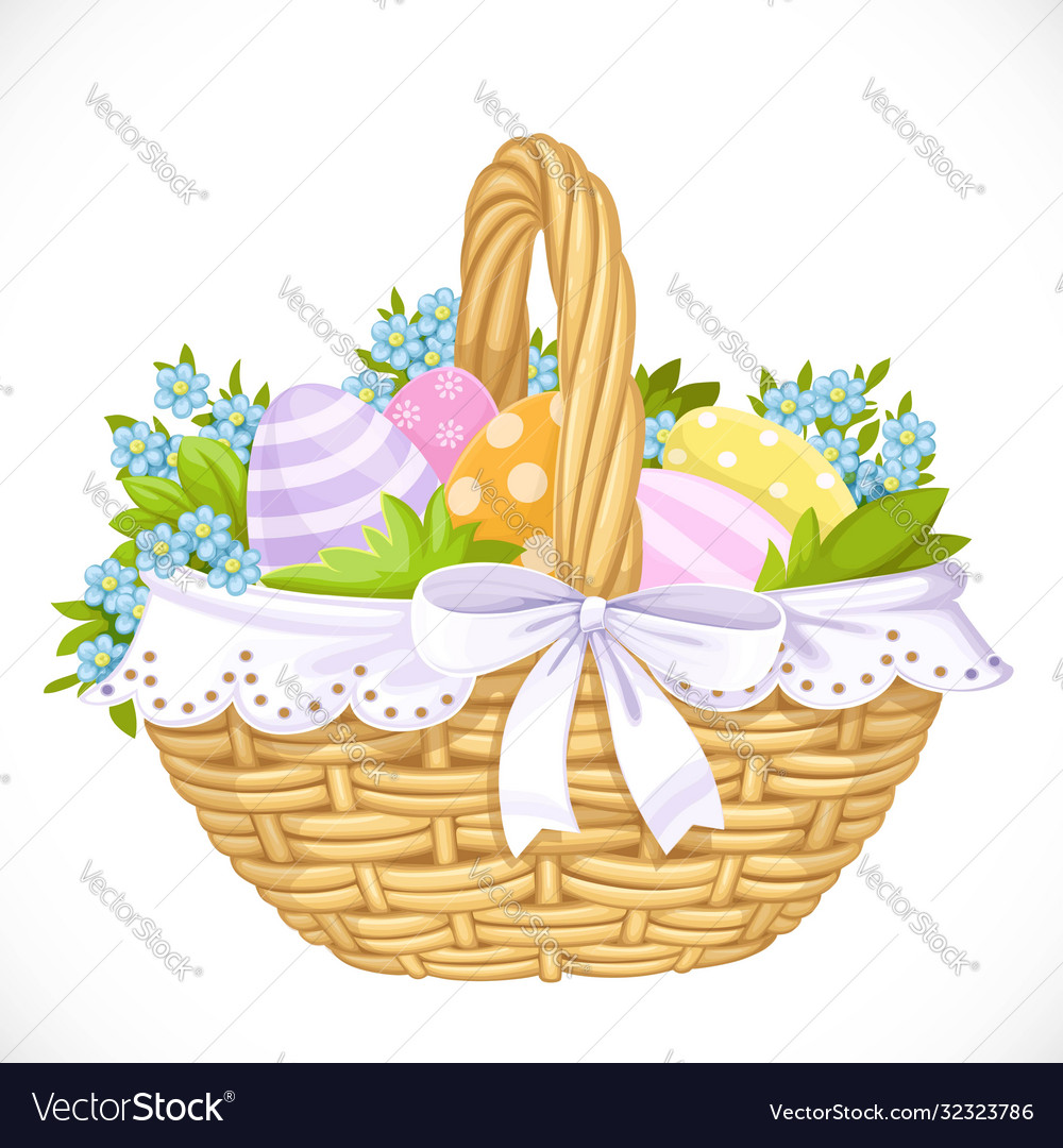 Basket with easter eggs and blue flowers isolated