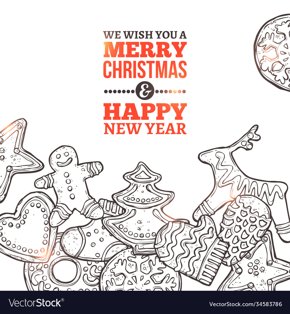 Christmas card with set gingerbread