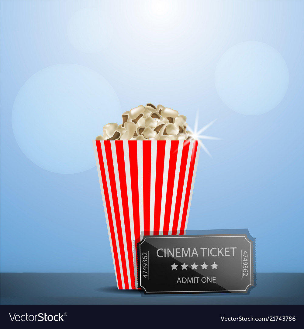 Cinema ticket popcorn concept background
