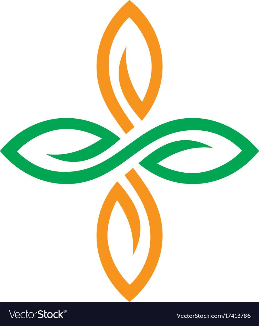 Circle leaf ornament logo