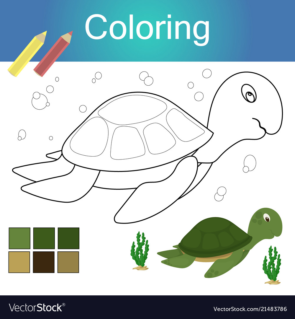Coloring book with animal outline artwork page