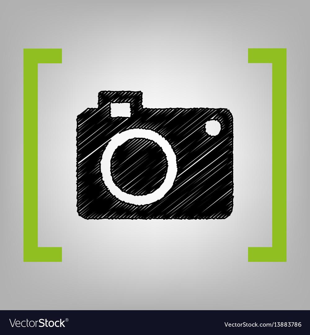 Digital camera sign black scribble icon