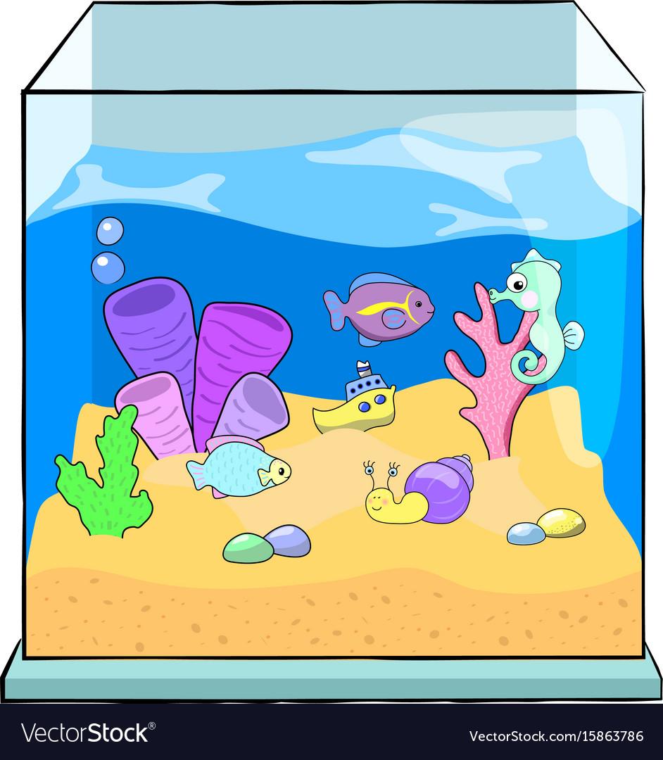 Fish Tank Cartoon Cute Sea Royalty Free Vector Image