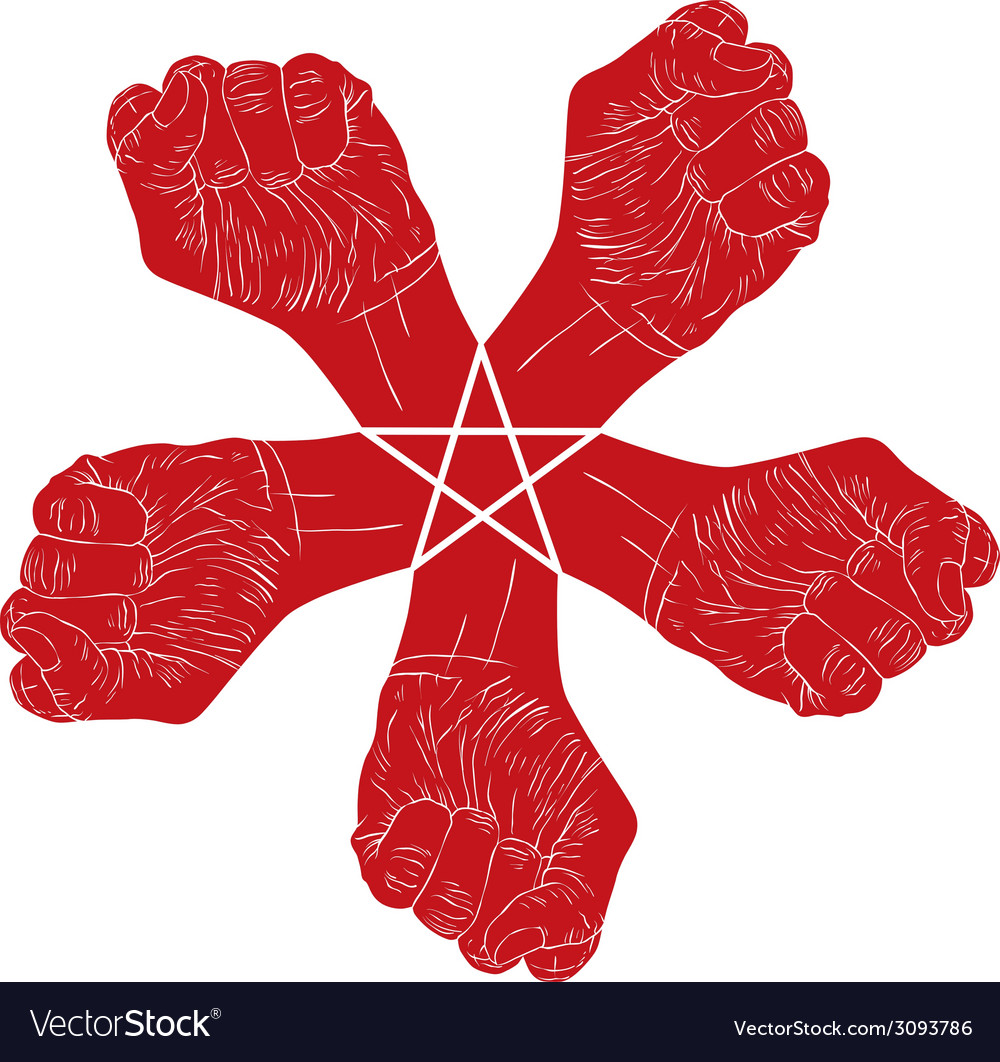 Five fists abstract symbol with five point star