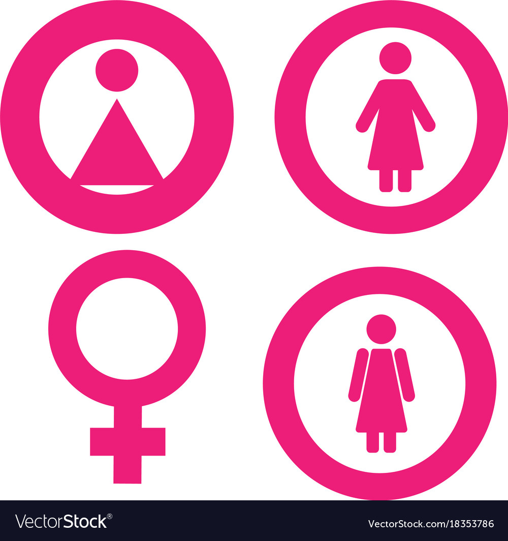 Gender Symbol Set Male Female Girl Boy Woman Man Vector Image