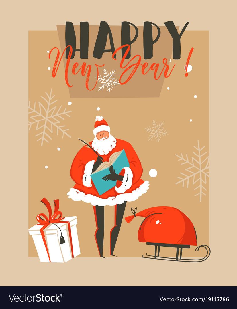 Hand drawn abstract fun merry christmas Royalty Free Vector