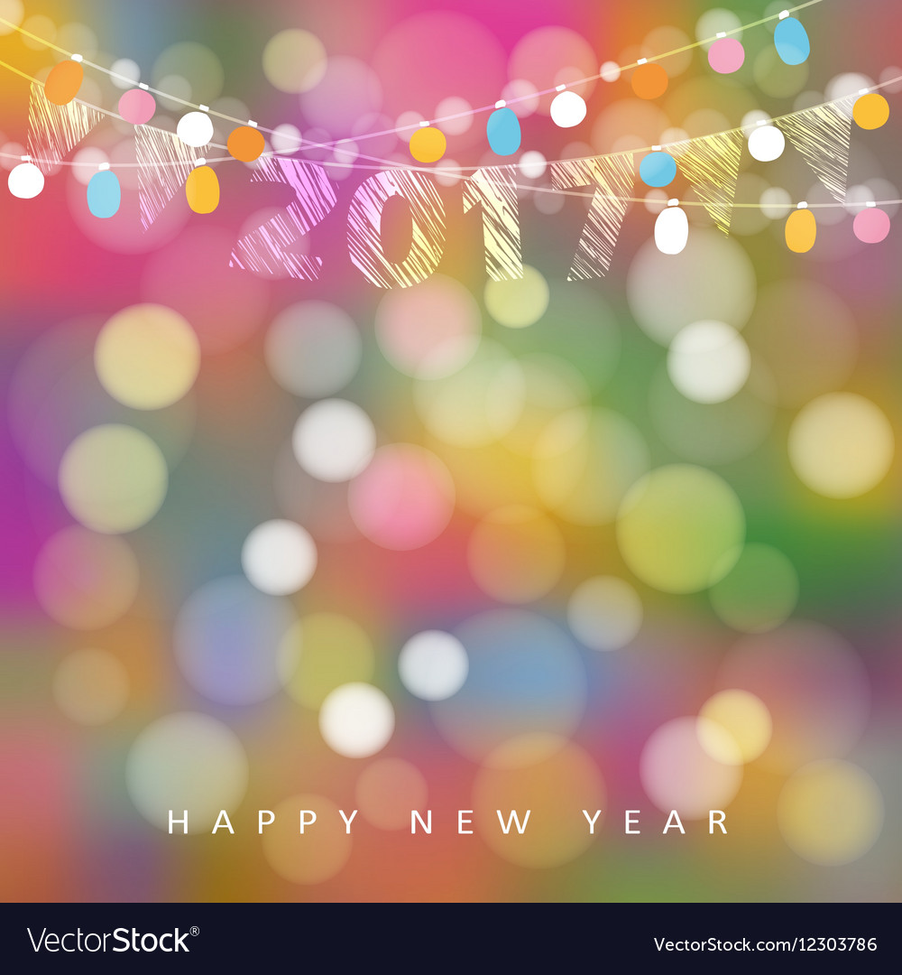 Happy new year greeting card with string of