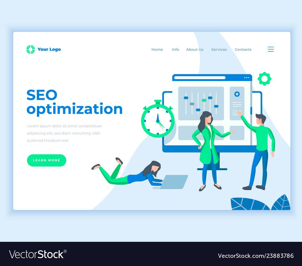 Landing page template seo optimization concept