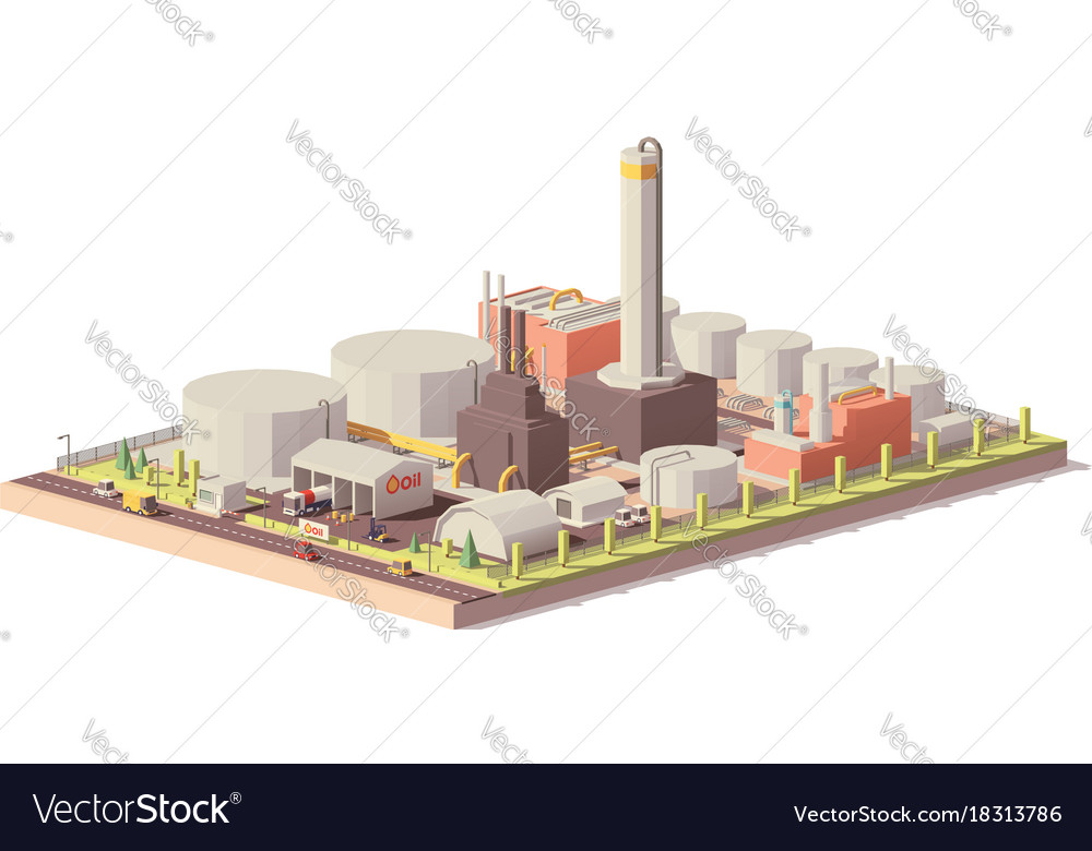 Low poly oil refinery plant