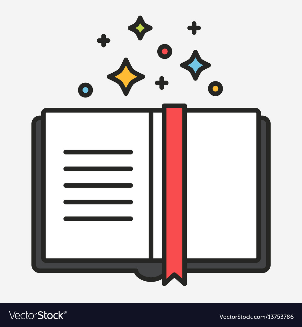 Magic tricks book flat line style vector image