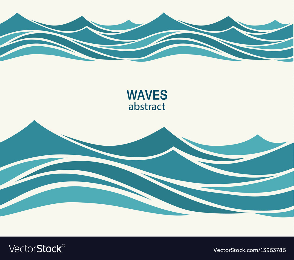 marine seamless pattern with stylized blue waves vector image rh vectorstock com vector wave line art vector waveform