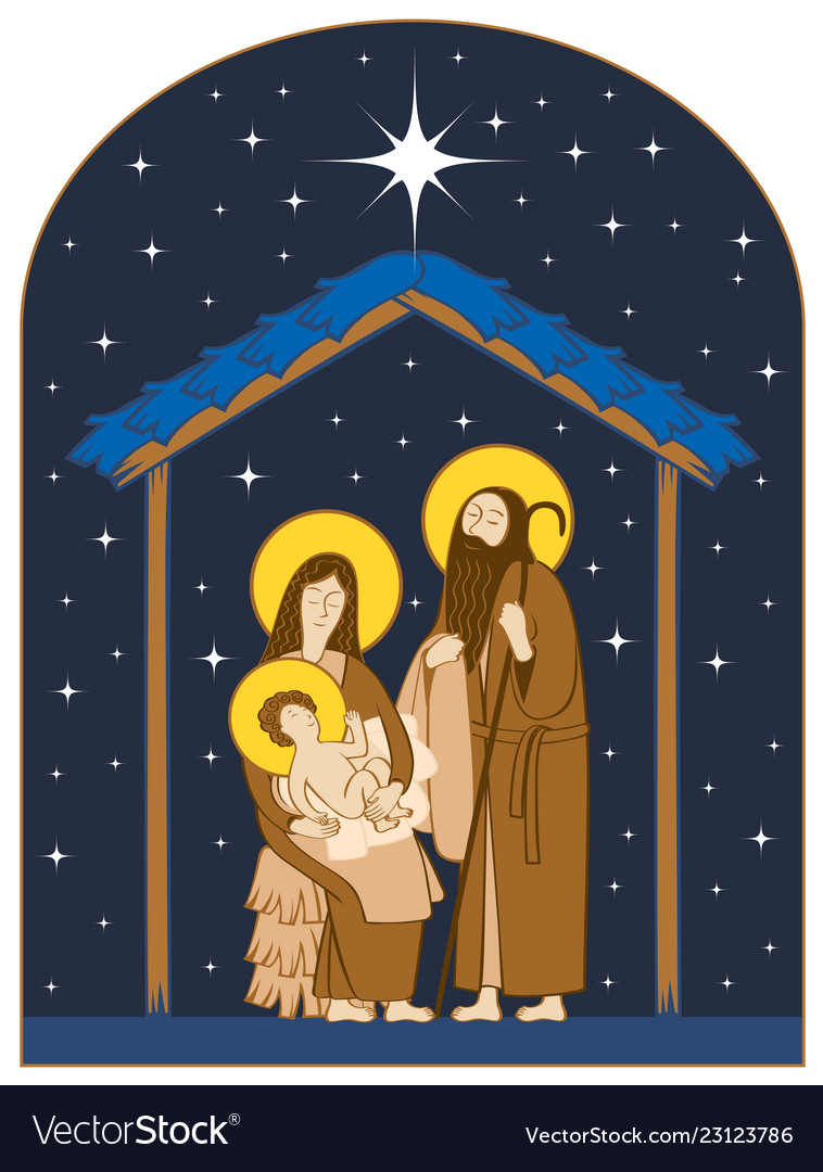Nativity scene holy family and christmas star