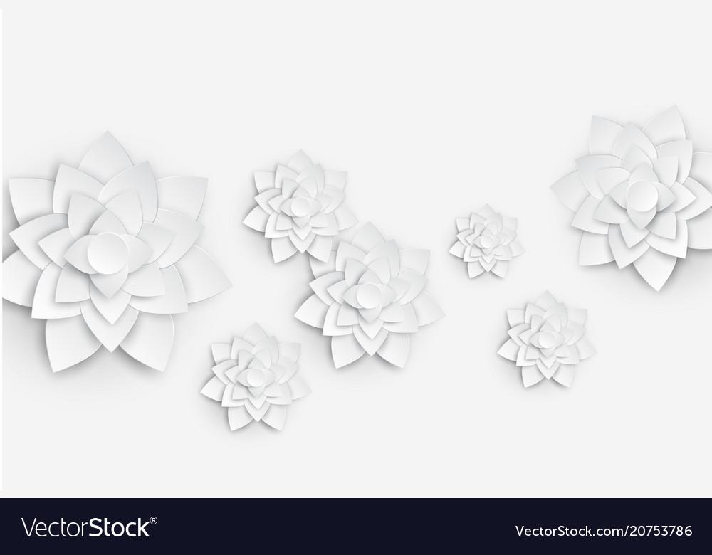Paper art floral background 3d flower paper vector image mightylinksfo