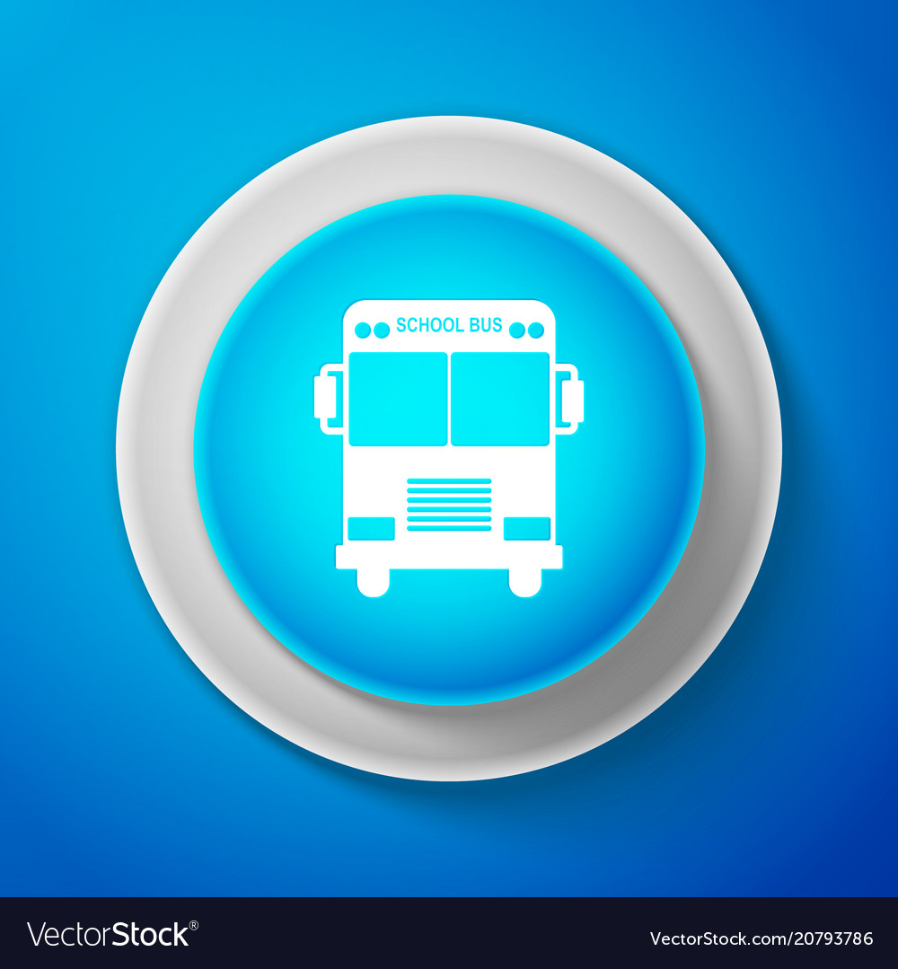 White school bus icon isolated on blue background