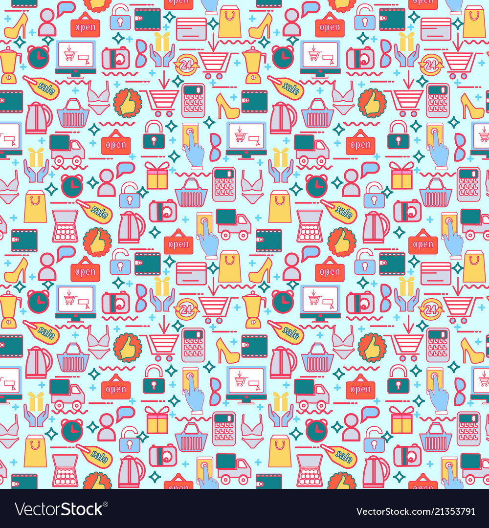 Background with colorful shopping icons retail
