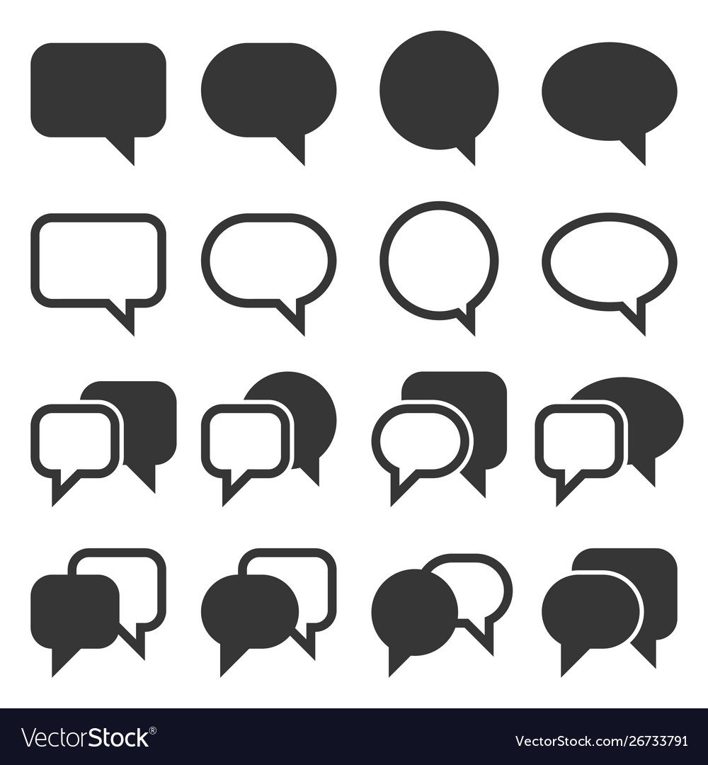 Chat and speech bubble iicons set on white