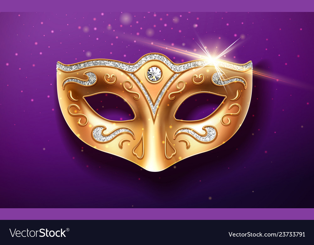 Colombina golden mask decorated with diamonds