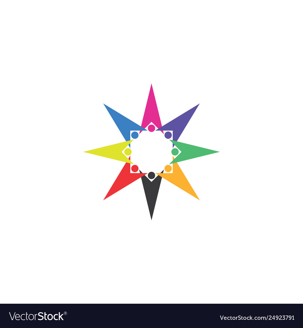 Colorful people team star shape logo icon