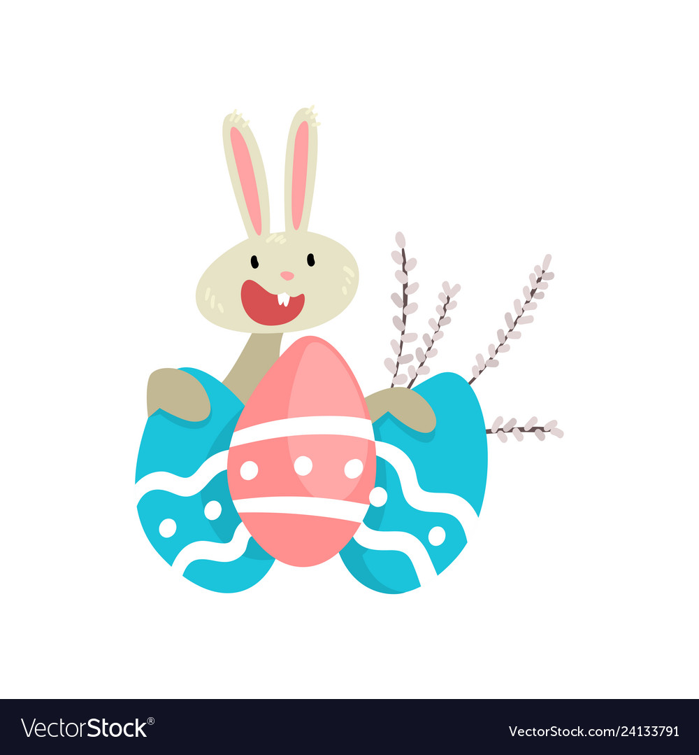 Cute white easter bunny with colorful eggs funny