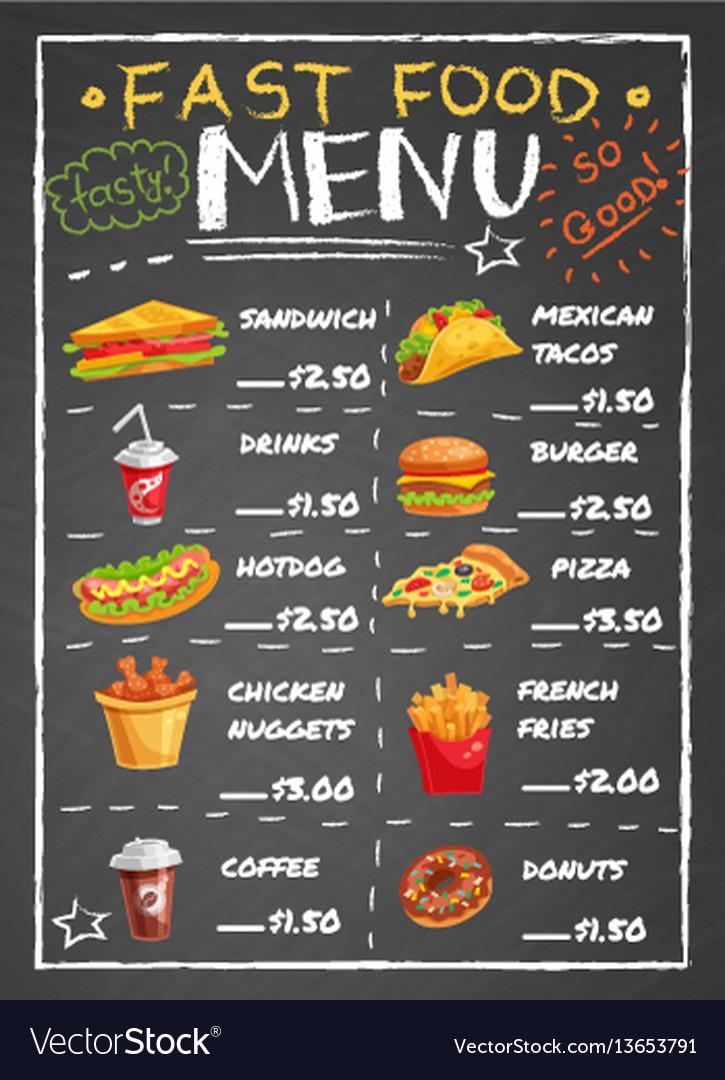 Fast food restaurant menu on chalkboard